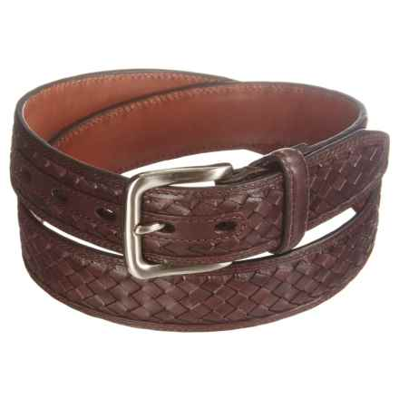 American Endurance Woven Inset Leather Belt (For Men) in Brown - Closeouts