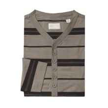 American Essentials Silk-Cotton Nightshirt - Long Sleeve (For Men) in Black/Olive - Closeouts