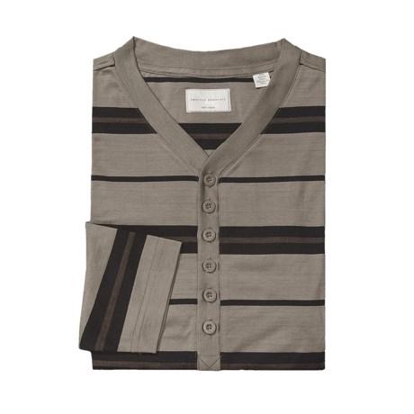 American Essentials Silk-Cotton Nightshirt - Long Sleeve (For Men) in Black/Olive