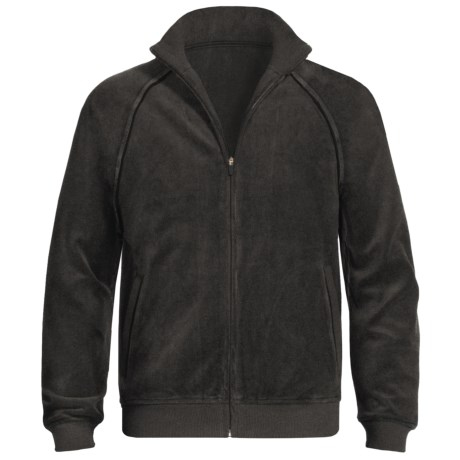 American Essentials Velour Zip Jacket (For Men) in Black