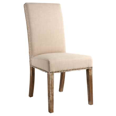American Home Fashion Dining Chair with Nail Heads in Cream - Closeouts