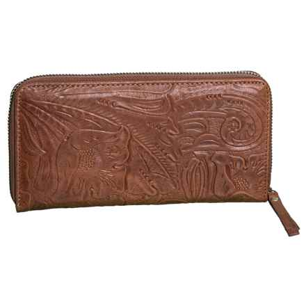American Leather Co. Carrie Zip-Around Wallet - Leather (For Women) in Brandy - Closeouts