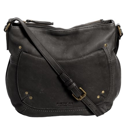 b00946340c02 American Leather Co. Princeton Leather Double-Entry Crossbody (For Women)  in Black