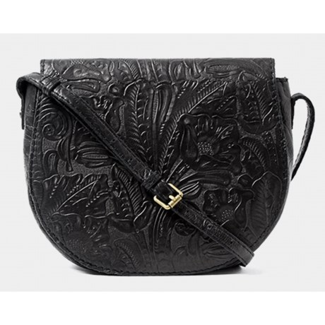 American Leather Co. Wichita Flap Crossbody Bag (For Women) in Black Floral