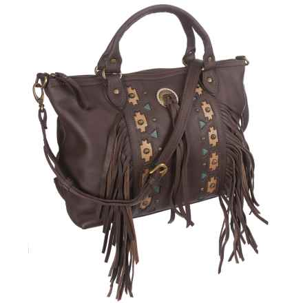 American West Chenoa Large Zip-Top Convertible Satchel (For Women) in Dark Brown - Closeouts