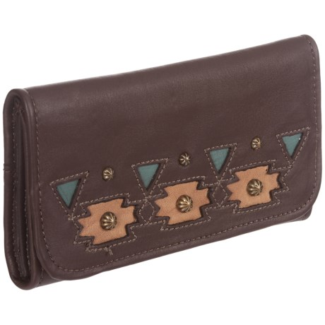 American West Chenoa Trifold Wallet - Leather (For Women) in Dark Brown