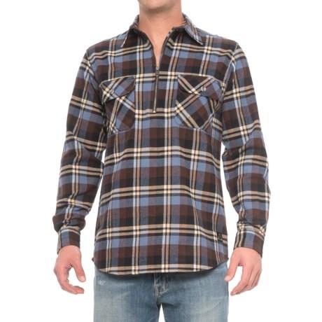AmericaWare Bender Brawny Zip Neck Shirt - Long Sleeve (For Men) in Java