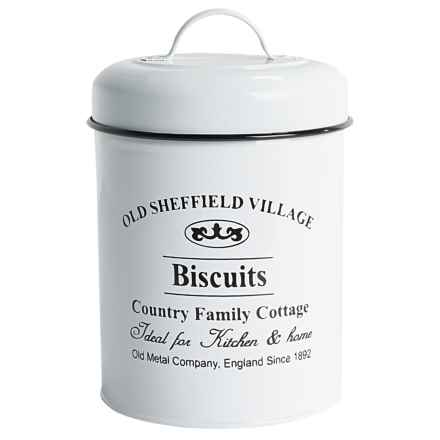 Amici Biscuit Metal Dog Treat Canister - 64 oz. in White - Closeouts