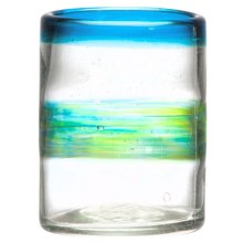 Amici Del Mar Collection Double Old-Fashioned Glass - 12 fl.oz., Recycled Materials in Blue/Green - Closeouts