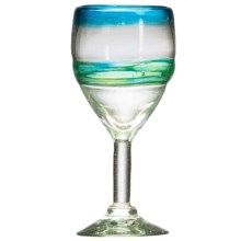 Amici Home Del Mar Collection Glass Goblet - 12 fl.oz., Recycled Materials in Blue/Green - Closeouts