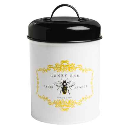 Amici Home Honey Bee Metal Canister in White/Black - Closeouts