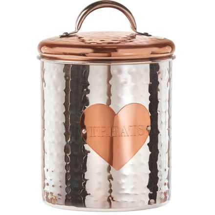 Amici Rosie Pet Treat Canister - 38 oz. in Stainless Steel /Rose Gold - Closeouts