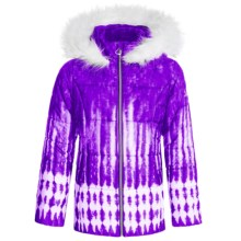 Amy Byer Printed Puffer Coat - Insulated, Attached Hood (For Big Girls) in Purple - Closeouts