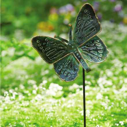 """Ancient Graffiti Antique Verdigris Butterfly Garden Stake - 26.5"""" in Green - Closeouts"""