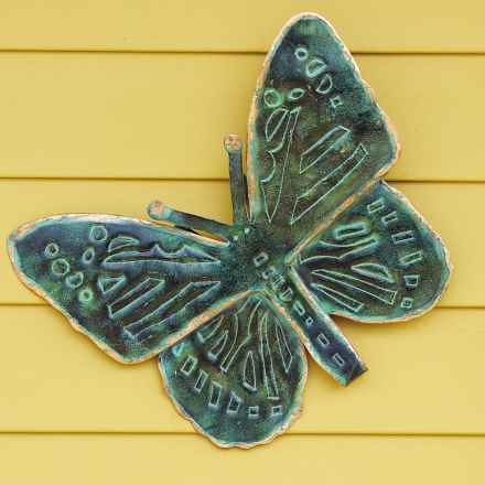"Ancient Graffiti Antique Verdigris Butterfly Wall Decor - 16"" in Green - Closeouts"