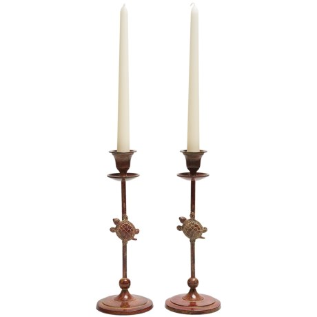 Ancient Graffiti Brass Candlesticks - Pair in Turtle