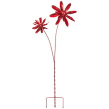 Ancient Graffiti Double Zinnia Spinner Yard/Garden Stake in Red - Closeouts