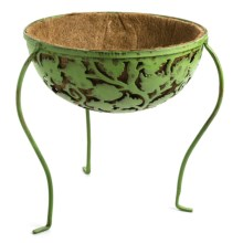 Ancient Graffiti Etched Metal Standing Planter in Verdigris Leaf - Closeouts