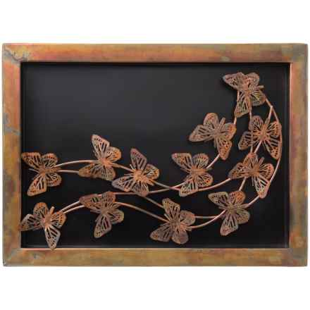 Ancient Graffiti Flamed Butterflies Shadow Box in Light Copper - Closeouts