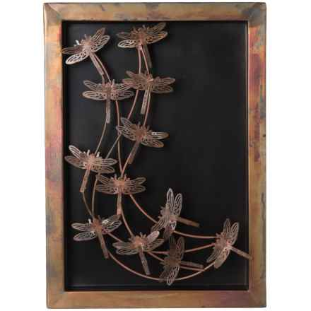 Ancient Graffiti Flamed Dragonflies Shadow Box in Copper - Closeouts
