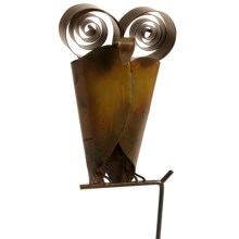 Ancient Graffiti Garden/Yard Owl Decoration - Flamed Copper in Yard Stake - Closeouts