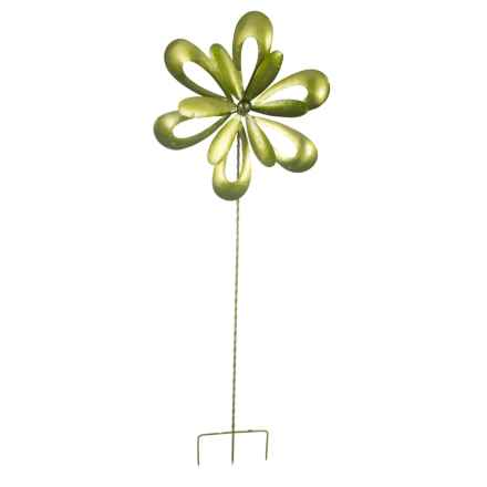 """Ancient Graffiti Green Floral Cutout Spinner Stake - 32"""" in Green - Closeouts"""