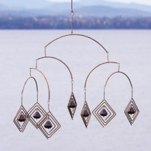 Ancient Graffiti Hanging Mobile with Bells in Diamond - Closeouts