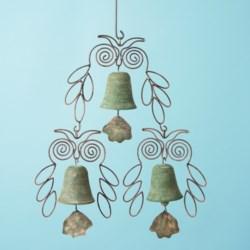 Ancient Graffiti Hanging Triple Bells Garden Art in Owl