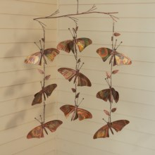 Ancient Graffiti Hanging Triple-Strand Branch Ornament - Flamed Copper in Butterfly - Closeouts