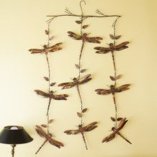 Ancient Graffiti Hanging Triple-Strand Branch Ornament - Flamed Copper in Dragonfly - Closeouts