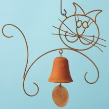 Ancient Graffiti Hanging Wind Chime - Single Bell in Cat - Closeouts