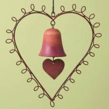 Ancient Graffiti Hanging Wind Chime - Single Bell in Heart - Closeouts
