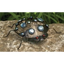 Ancient Graffiti Metal Garden Critter - Reflective Glass Accents in Beetle - Closeouts