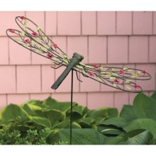 Ancient Graffiti Metal Rose Garden Stake in Dragonfly - Closeouts