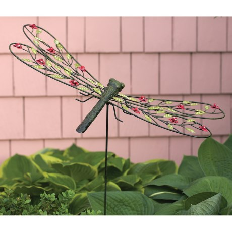 Ancient Graffiti Metal Rose Garden Stake in Dragonfly