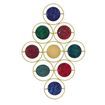 Ancient Graffiti Multicolor Circular Disc Wall Hanging in Blue/Red/Green - Closeouts