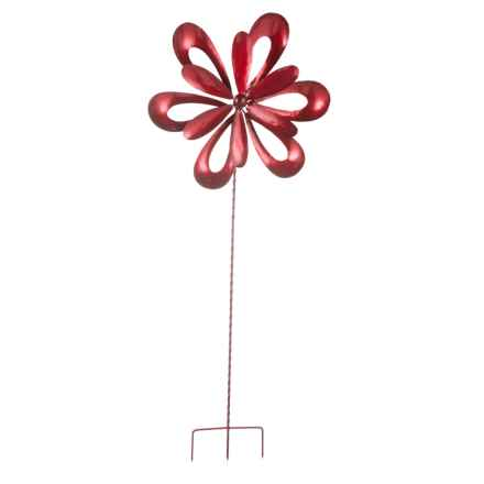 """Ancient Graffiti Red Floral Cutout Spinner Stake - 32"""" in Red - Closeouts"""
