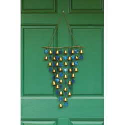 Ancient Graffiti Shimmering Bells Wind Chime/Door Hanger in Snowflakes