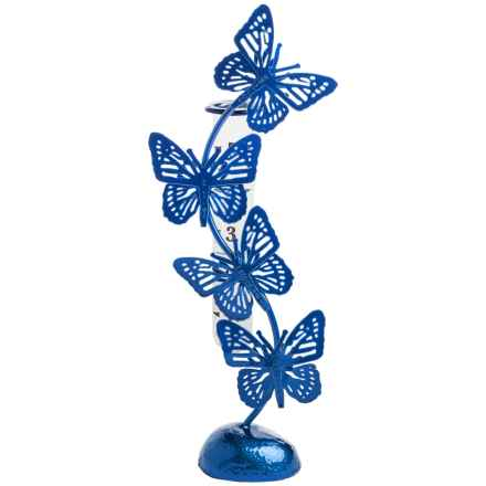 Ancient Graffiti Standing Butterfly Rain Gauge in Blue - Closeouts
