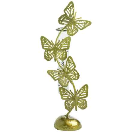 Ancient Graffiti Standing Butterfly Rain Gauge in Green - Closeouts