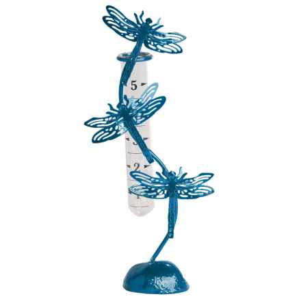 Ancient Graffiti Standing Dragonfly Rain Gauge in Blue - Closeouts
