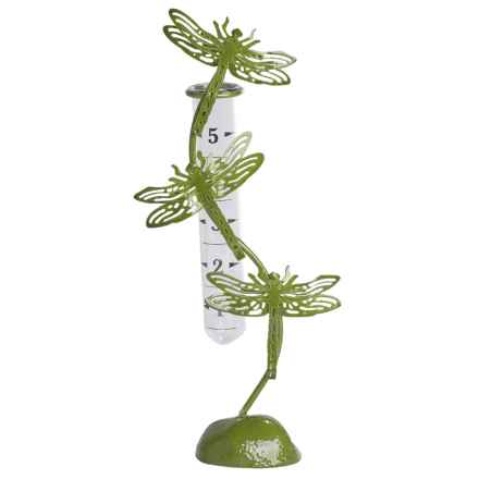Ancient Graffiti Standing Dragonfly Rain Gauge in Green - Closeouts