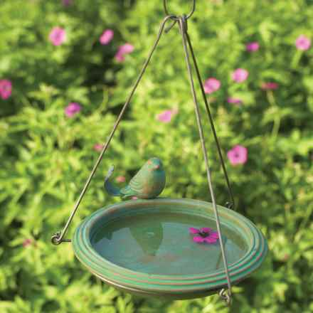 Ancient Graffiti Teal Hanging Bird Bath in See Photo - Closeouts