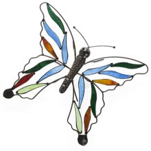 Ancient Graffiti Tear Drop Garden Stake - Stained Glass in Butterfly - Closeouts