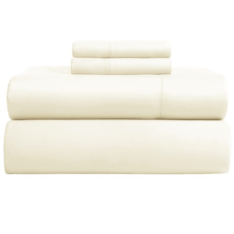 Andiamo Cotton Sateen Sheet Set - King, 500 TC in Ivory