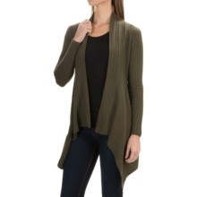 Andrea Jovine Cascade Cardigan Sweater - Cashmere, Open Front (For Women) in Army Heather - Closeouts