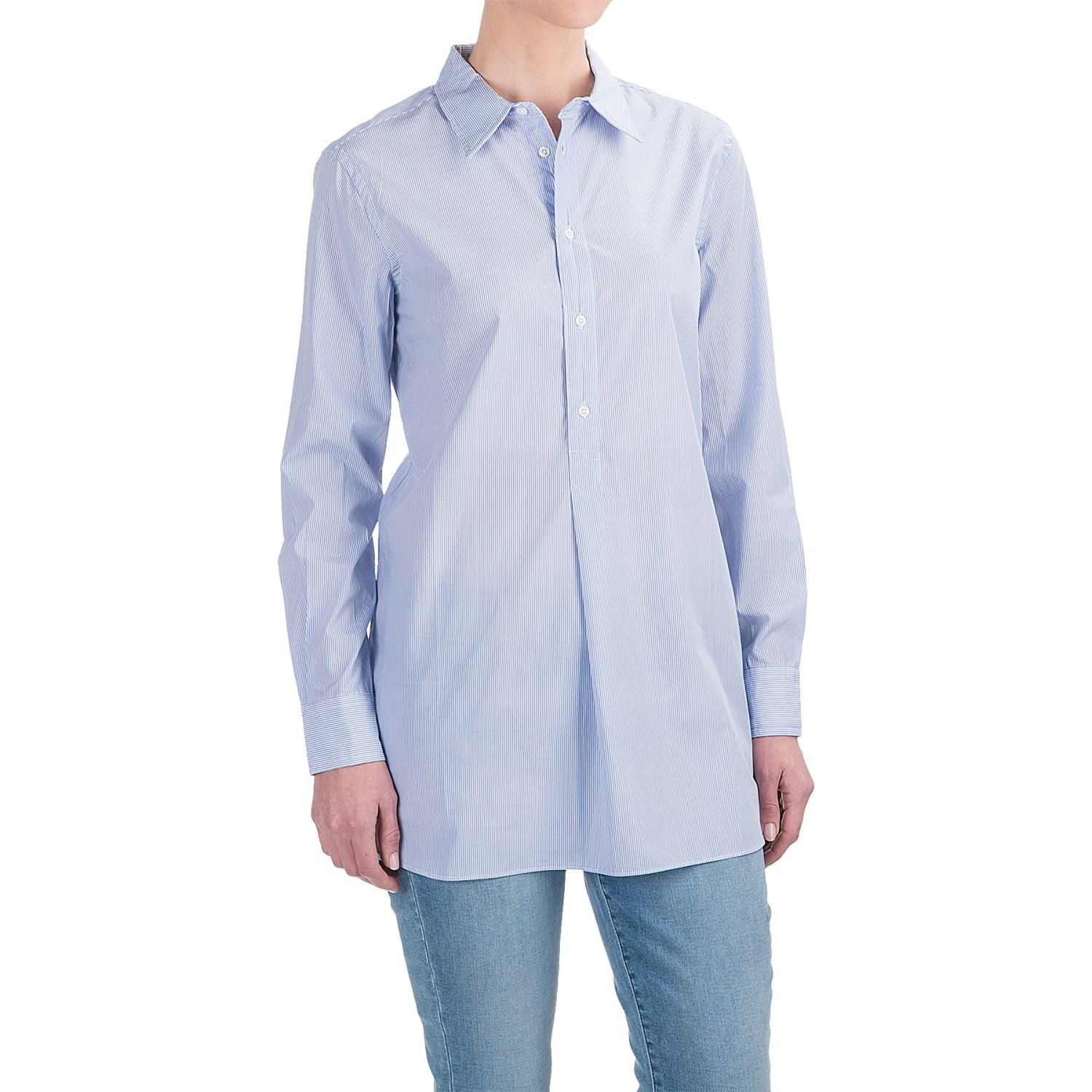 Andrea jovine yarn dyed front placket shirt for women for Blue and white long sleeve shirt