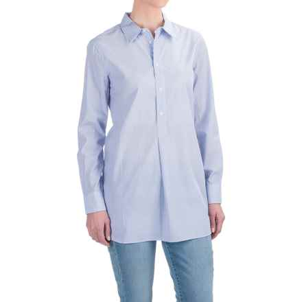 Andrea Jovine Yarn-Dyed Front Placket Shirt - Long Sleeve (For Women) in Light Blue/White Stripe - Closeouts