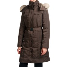Andrew Marc Brighton Long Down Coat - Coyote Fur, Removable Hood (For Women) in Chocolate - Closeouts
