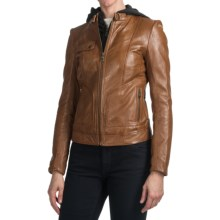 Andrew Marc Decoy Leather Coat - Zip-Out Hood and Bib (For Women) in Cognac - Closeouts